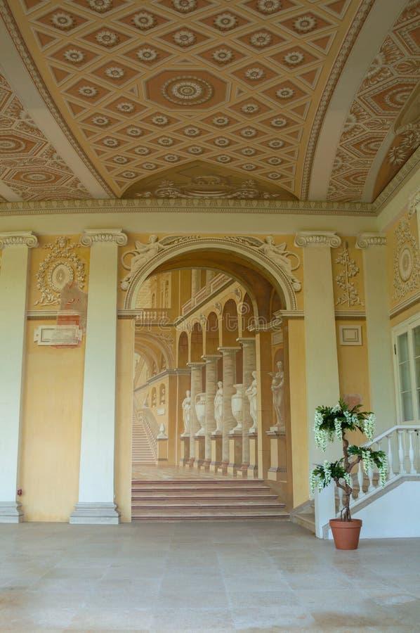 Gonzaga Gallery-Gebäude, ausführliche Innenansicht des Freskoensembles in Pavlovsk, St Petersburg, Russland lizenzfreies stockbild
