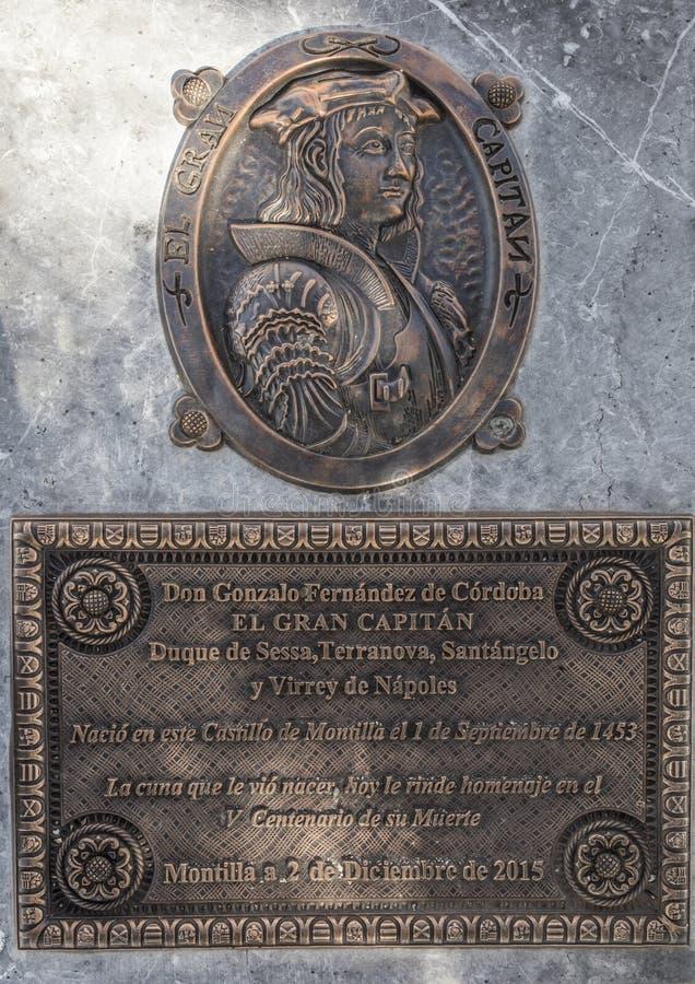 Gonzalo Fernandez de Cordoba plaque portrait royaltyfri foto