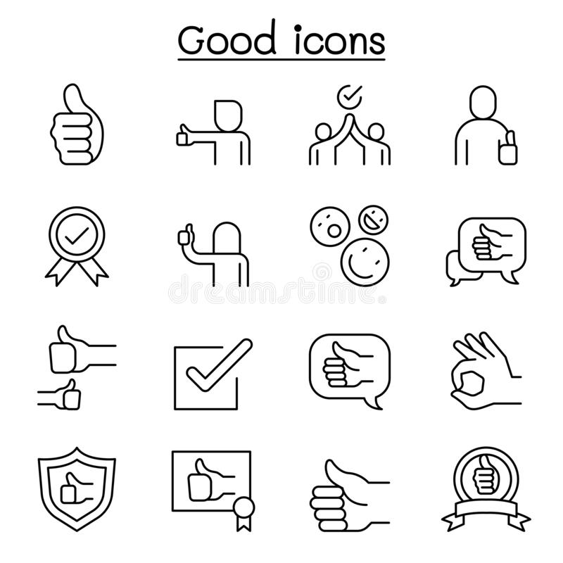 Free Good, Approve, Confirm, Verify, Quality Icon Set In Thin Line Style Stock Image - 165901071
