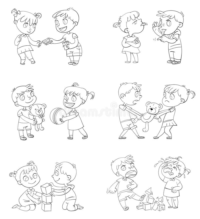Good and bad behavior of a child. Brother and sister fighting over a toys. Best friends forever. Funny cartoon character. Isolated on white background royalty free illustration