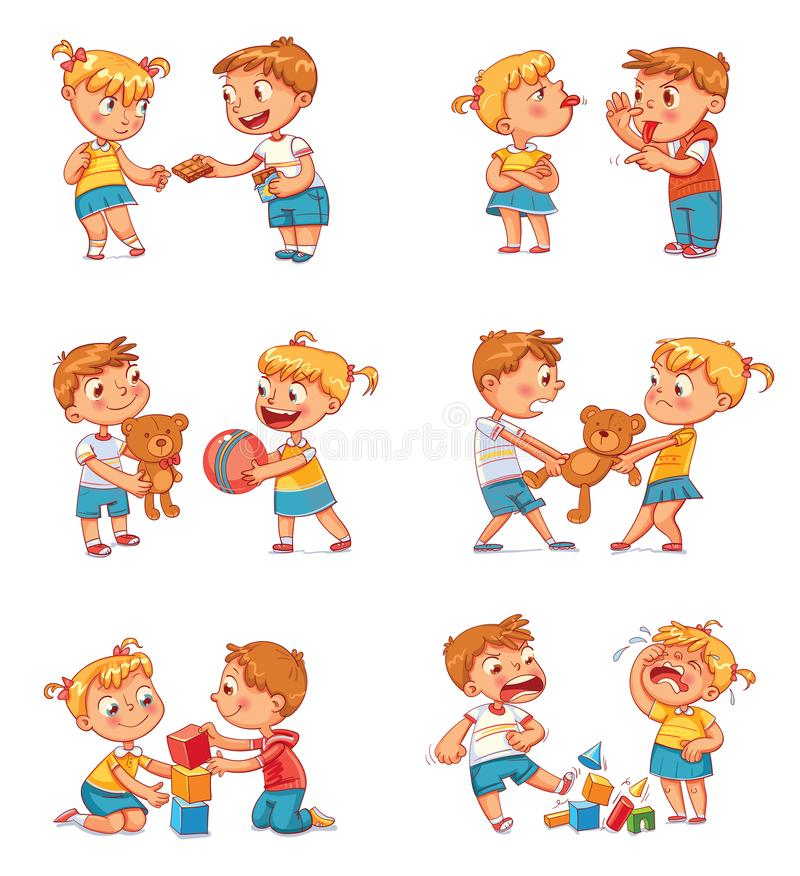 Good and bad behavior of a child. Brother and sister fighting over a toys. Best friends forever. Funny cartoon character. Isolated on white background. Vector stock illustration