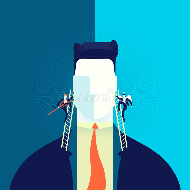 Good or bad business decision concept illustration. Businessman making hard decision with angel and demon in head, business concept illustration. EPS10 vector royalty free illustration
