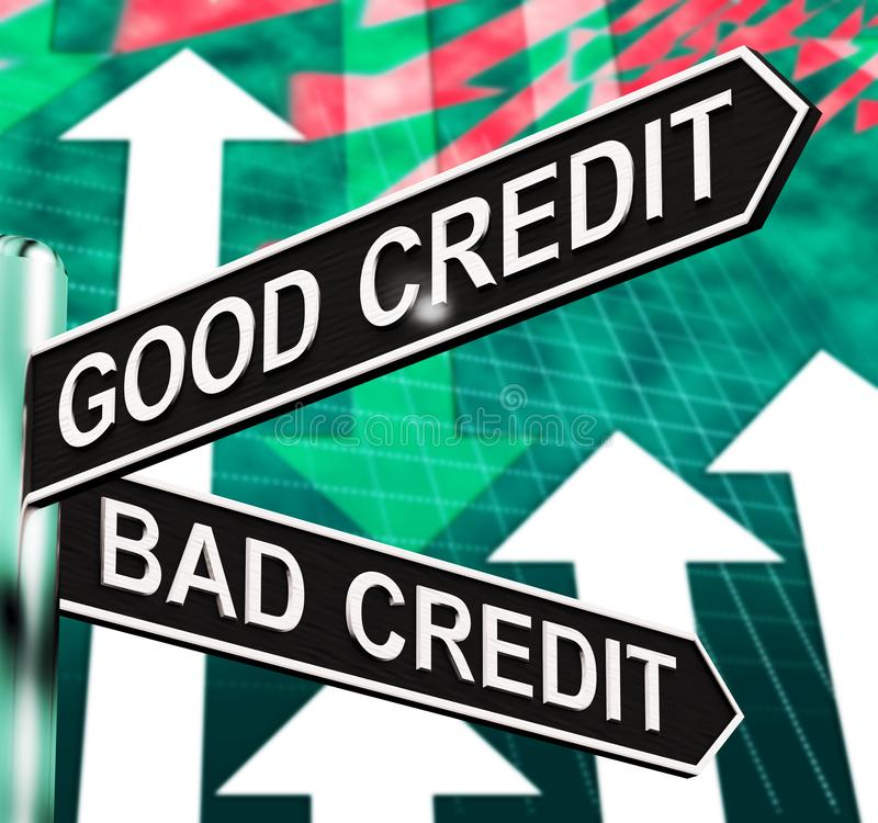 Good Bad Credit Signpost Showing Customer Financial 3d Illustration. Good Bad Credit Signpost Shows Customer Financial 3d Illustration stock illustration