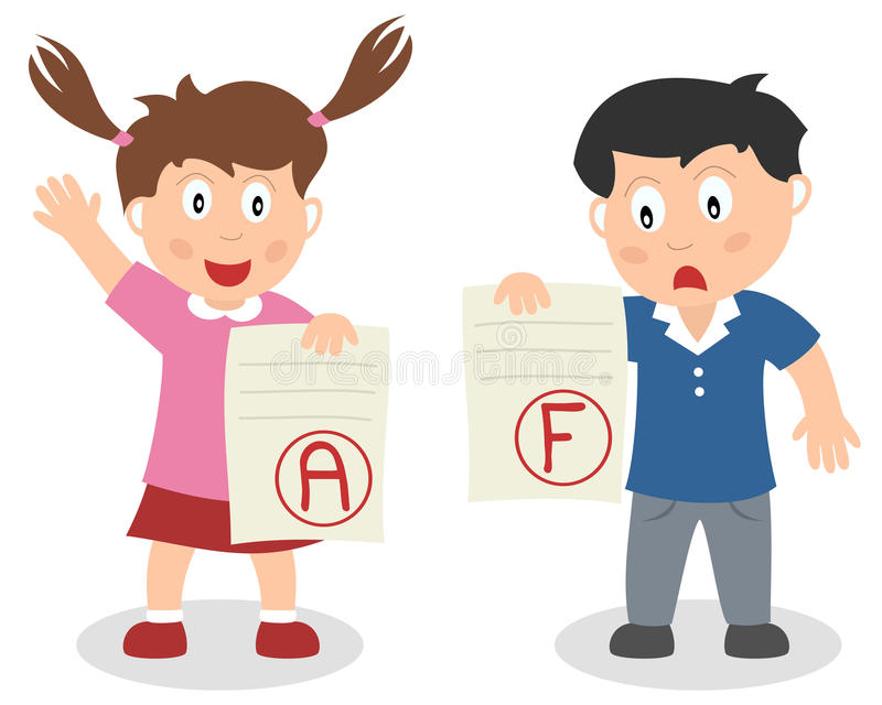Good and Bad Grade Kids. Two school kids receiving a good and a bad grade. Eps file available royalty free illustration