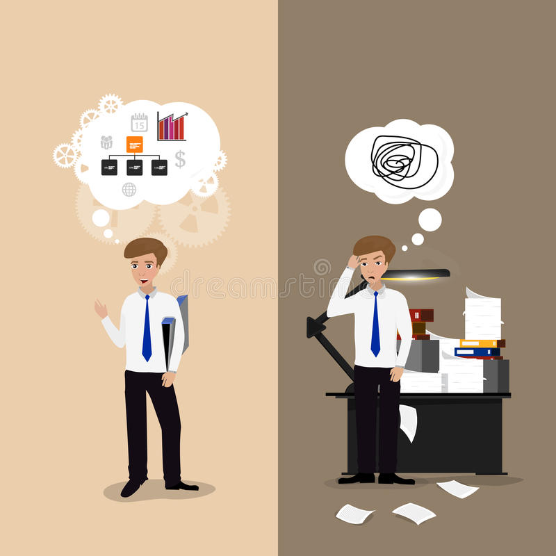 Good and bad working vector illustration