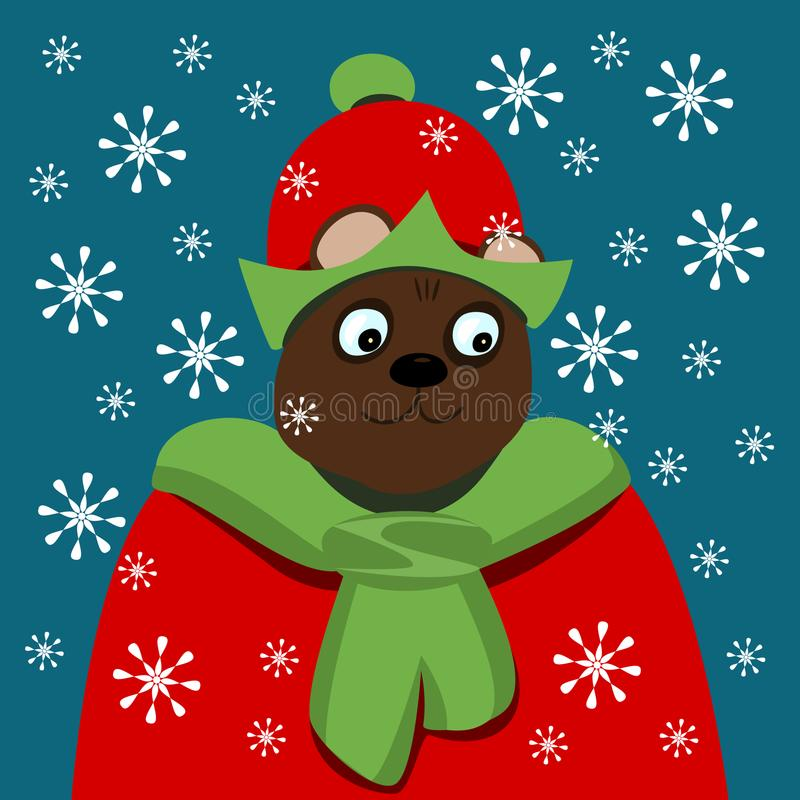 Good bear in Christmas elf clothing in blizzard royalty free stock photography