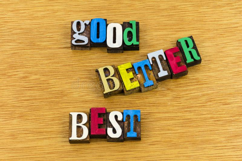 Good better best quality control stock images