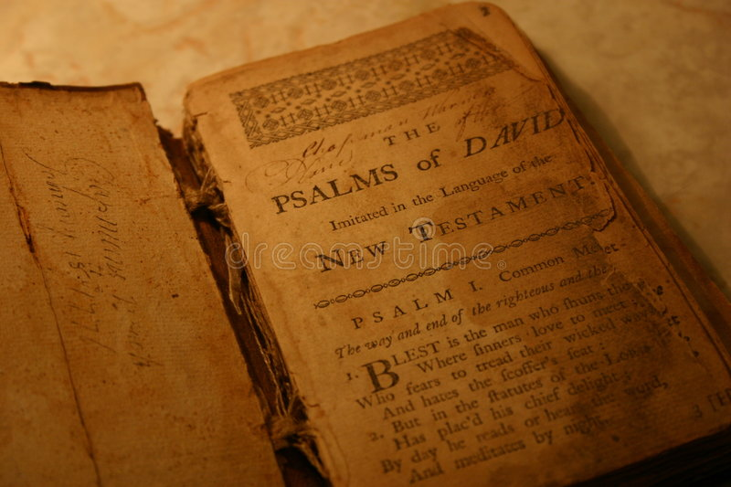 The Good Book. 17th century Psalms book from 1600 with ancient quilled writing royalty free stock photo