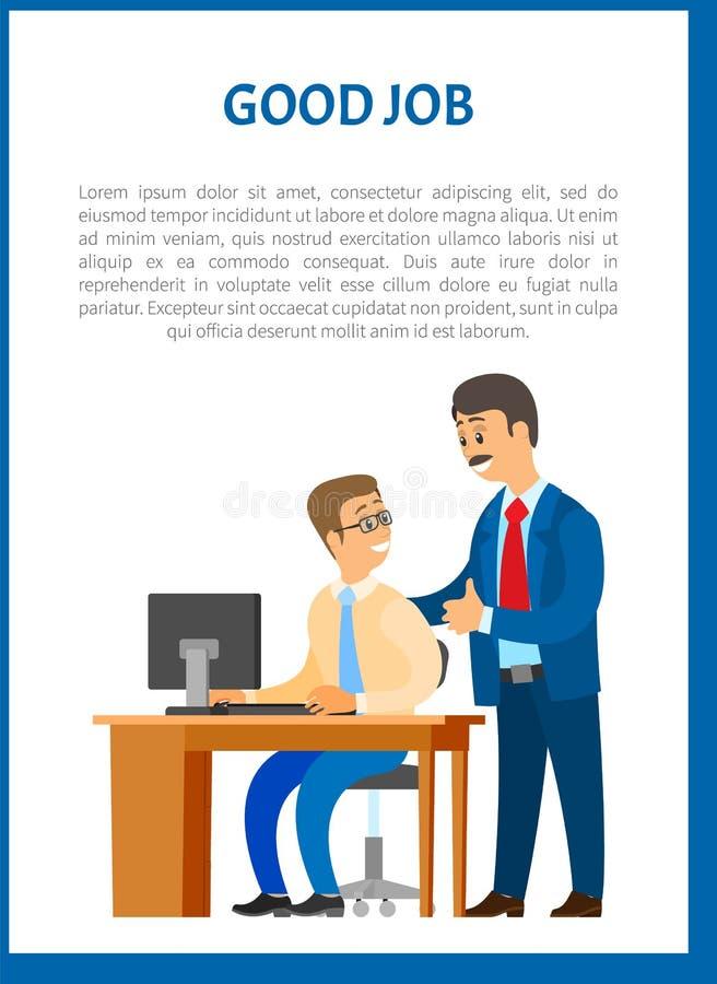 Good Boss Company Leader Supervising Office Worker vector illustration
