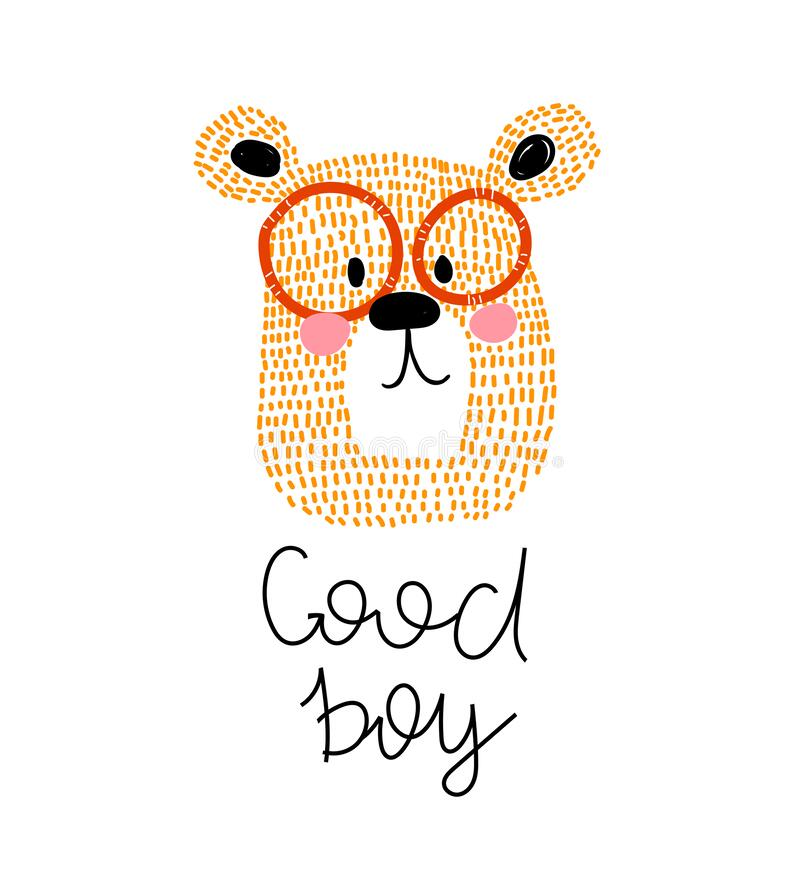 Free Good Boy. Cartoon Bear, Hand Drawing Lettering, Decor Elements. Flat Style, Colorful Vector For Kids. Stock Photo - 179251180