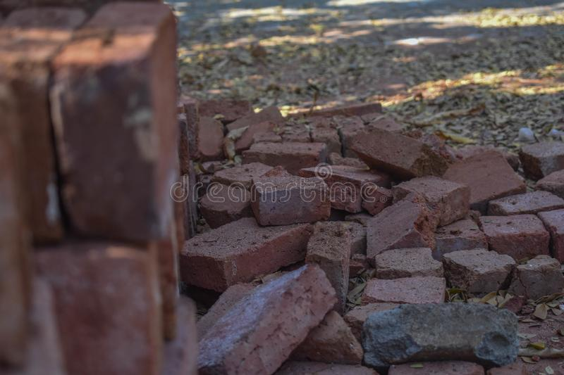 A good brick picture outdoor. This brick looks scattered, I took this photo because it saved a good meaning royalty free stock image