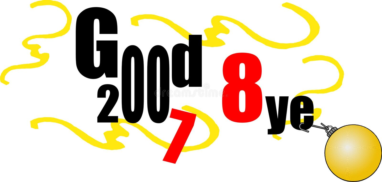 Download Good Bye. Happy New 2008 Year Stock Vector - Illustration of time, 2008: 3416064