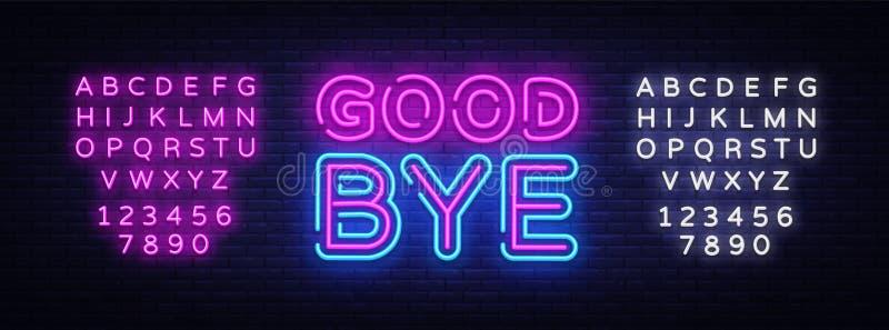 Good Bye neon text vector design template. Good Bye neon logo, light banner design element colorful modern design trend stock illustration