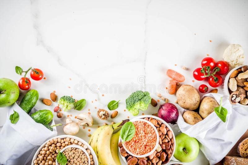 Good carbohydrate fiber rich food. Healthy food. Selection of good carbohydrate sources, high fiber rich food. Low glycemic index diet. Fresh vegetables, fruits stock images