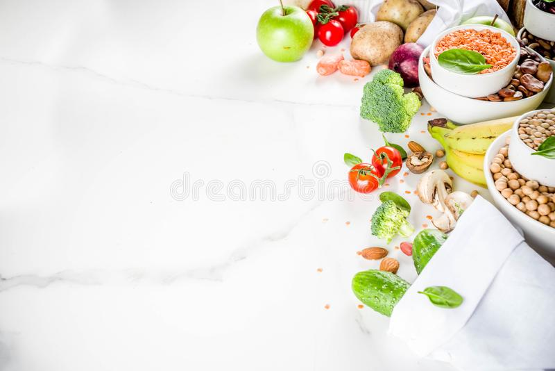 Good carbohydrate fiber rich food. Healthy food. Selection of good carbohydrate sources, high fiber rich food. Low glycemic index diet. Fresh vegetables, fruits royalty free stock image