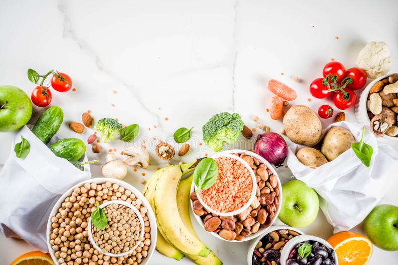 Good carbohydrate fiber rich food. Healthy food. Selection of good carbohydrate sources, high fiber rich food. Low glycemic index diet. Fresh vegetables, fruits stock photos