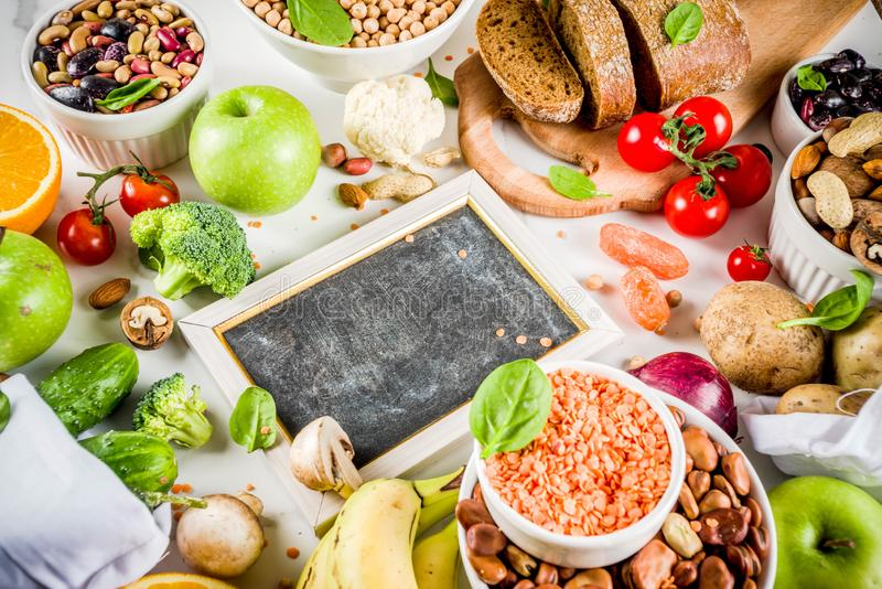 Good carbohydrate fiber rich food. Healthy food. Selection of good carbohydrate sources, high fiber rich food. Low glycemic index diet. Fresh vegetables, fruits royalty free stock images
