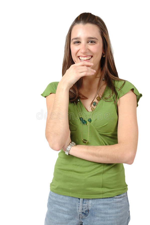 Good Choice. Woman laughs holding her hand to her face in a thoughtful gesture. She is happy and thinking about her choice royalty free stock images