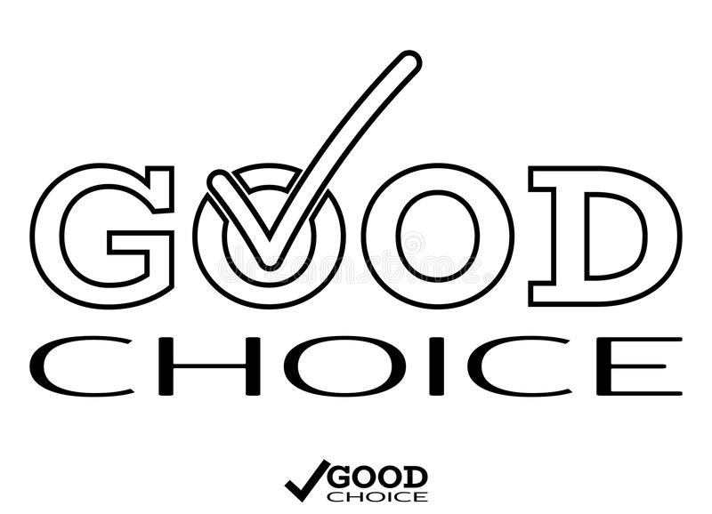 Good Choice icon with hook, V inside logo. Advice word and tick. Vector stock illustration