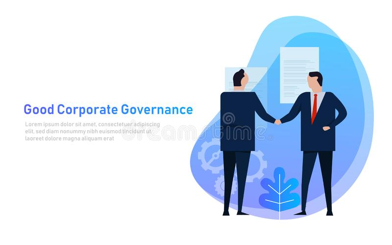 Good Corporate Governance. Business team agree on set of principle and cooperation. Vector vector illustration