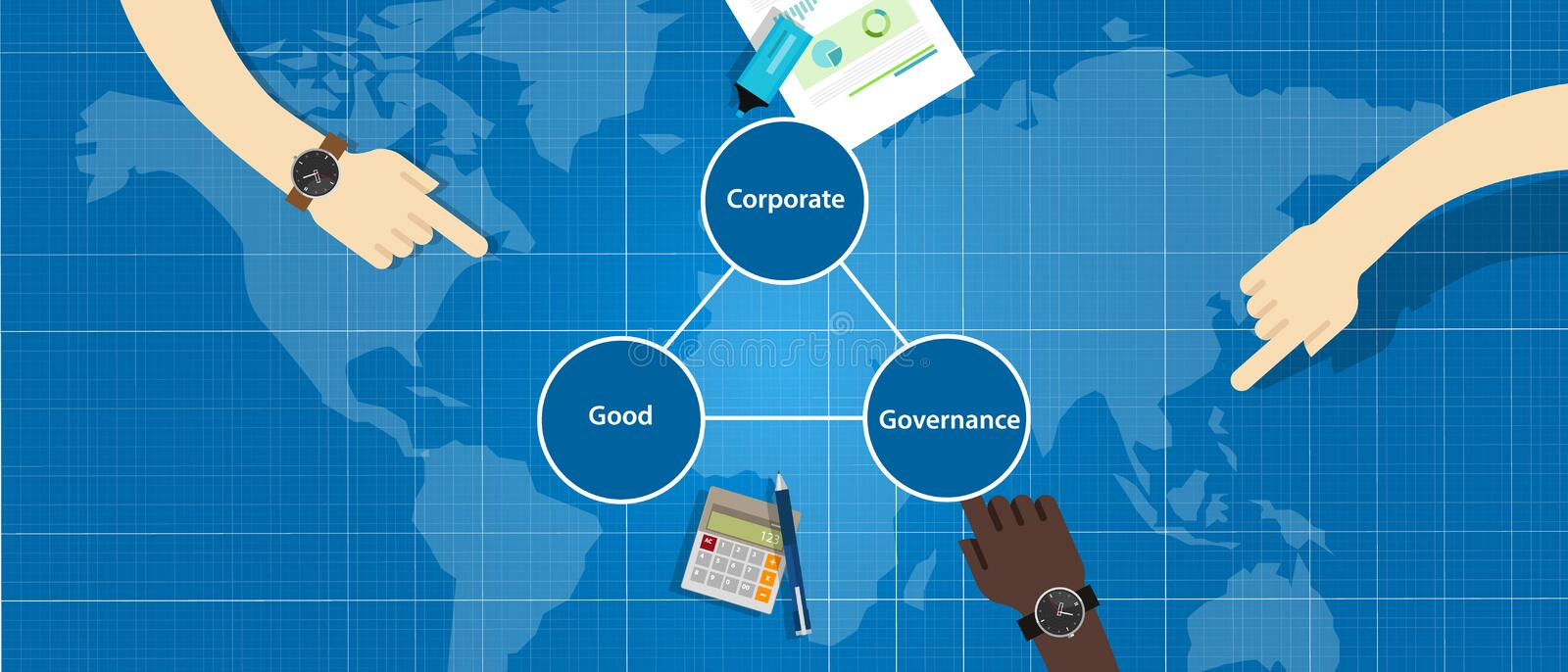 Good Corporate Governance concept. accountable organization transparent management symbol with hands. Good Corporate Governance concept. accountable royalty free illustration