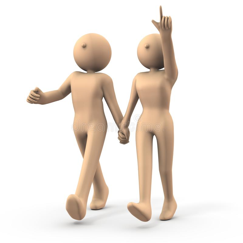 A good couple. The two are holding hands and taking a walk. White background. 3D illustration royalty free illustration