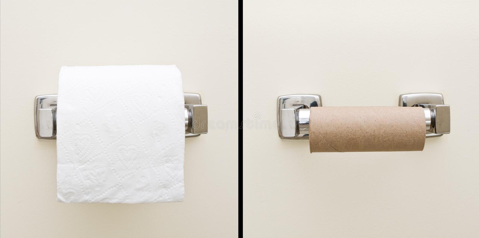 Good day - bad day. Good day, bad day concept of full and empty bathroom tissue roll royalty free stock image