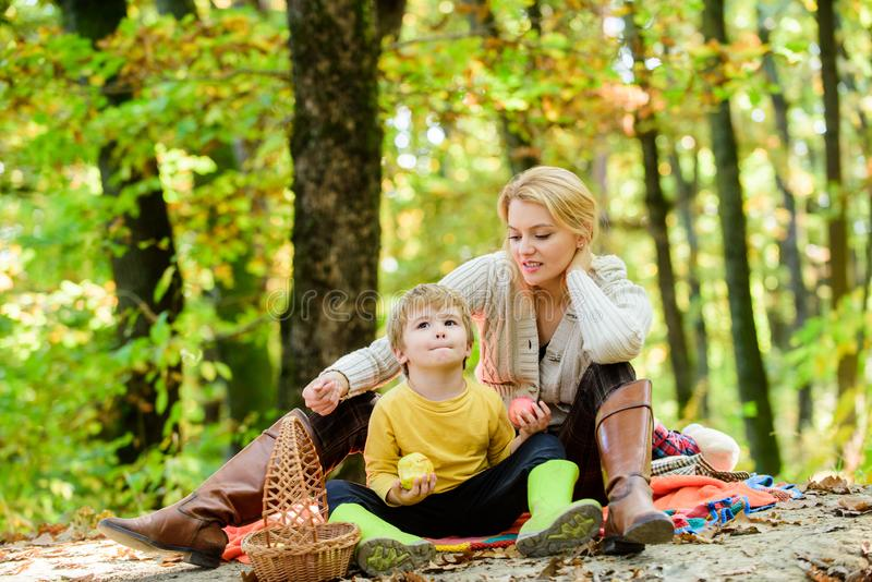 Good day for spring picnic in nature. Having snack during hike. Happy childhood. Mom and kid boy relaxing while hiking. Forest. Family picnic. Mother pretty royalty free stock images