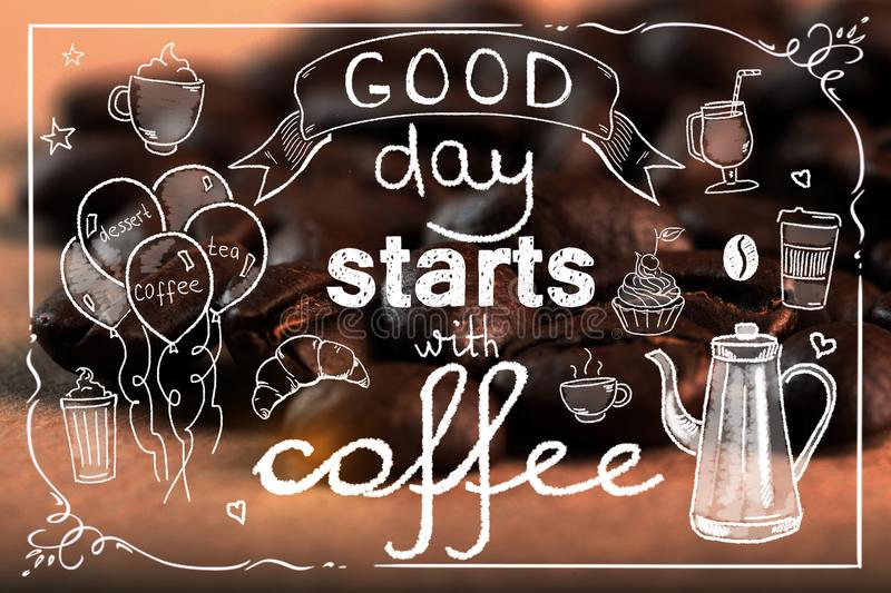 Good day starts with coffee backdrop. Typography concept stock photography