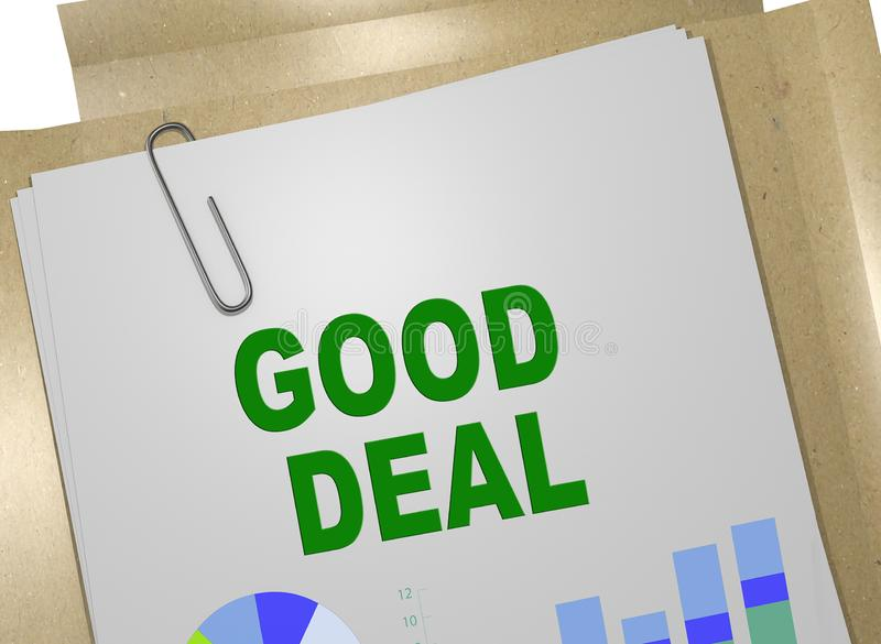GOOD DEAL concept. 3D illustration of GOOD DEAL title on business document royalty free stock images