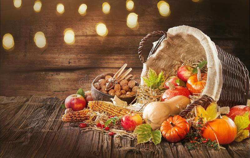 Good decorations for fall and autumn banners. Apple corn and pumpkins and beautiful atmospheric conceptual for Halloween or business advertising stock photo