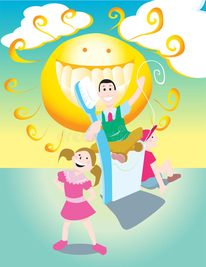 Good Dentist Checkup. Kids are happy because they got a good checkup and cleaning at the dentist royalty free illustration