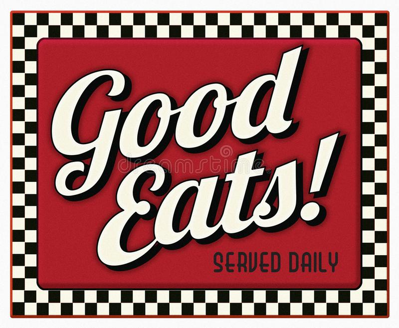 Good Eats Served Daily Diner Sign vector illustration