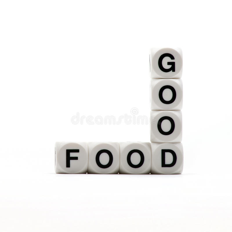 Good Food. The words 'GOOD' and 'FOOD' joined together royalty free stock image