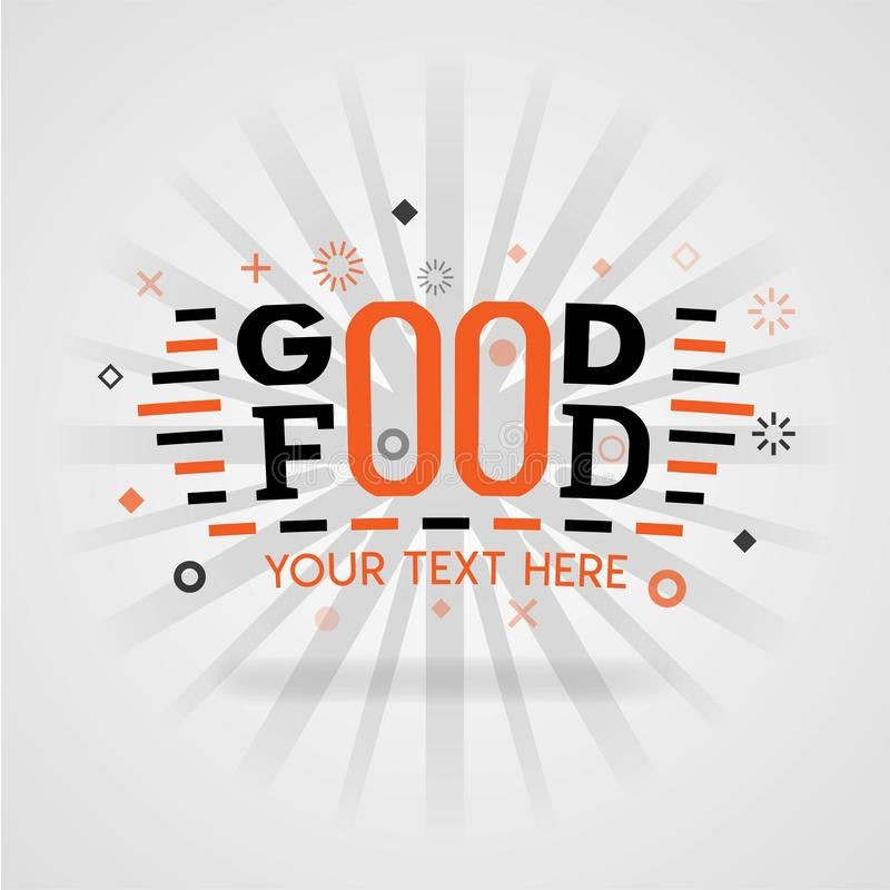 Good food design cover guide book with low fat recipes and food games to facilitate cooking stock illustration