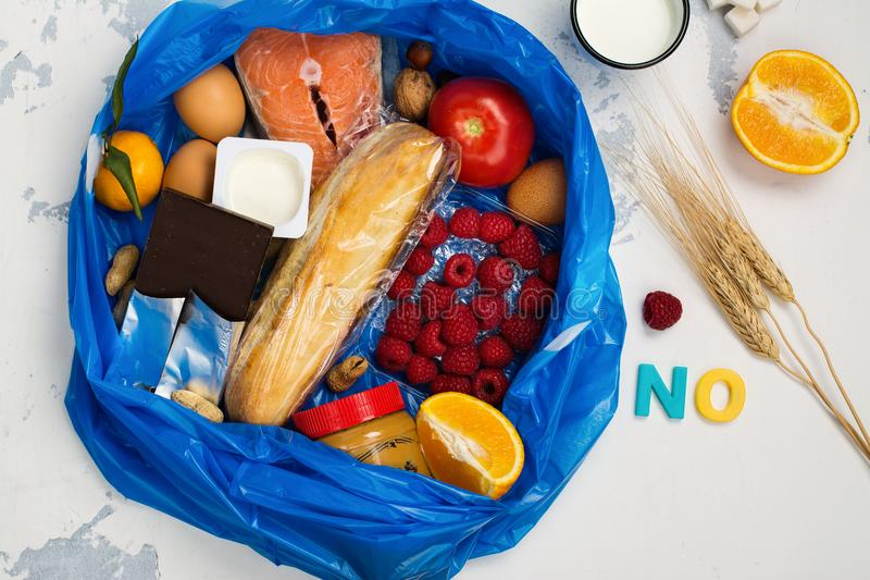 Good food in trash bag stock images