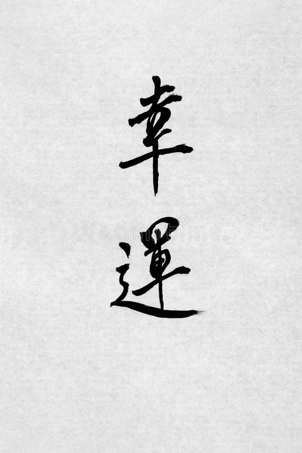 Good Fortune Chinese Calligraphy royalty free stock image