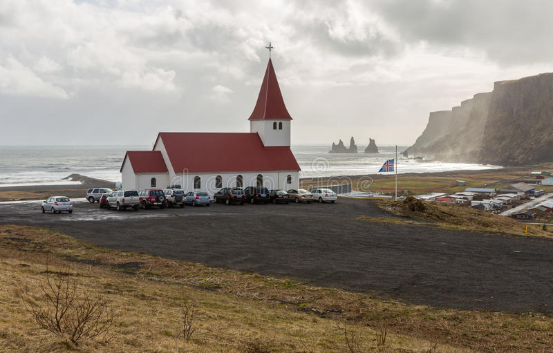 Good Friday church service at Vik, Iceland stock images
