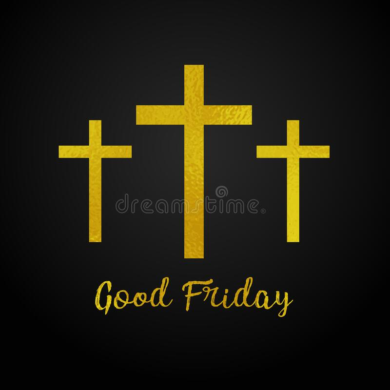 Free Good Friday. Gold Texture Three Cross On Black Background Royalty Free Stock Photo - 173779455