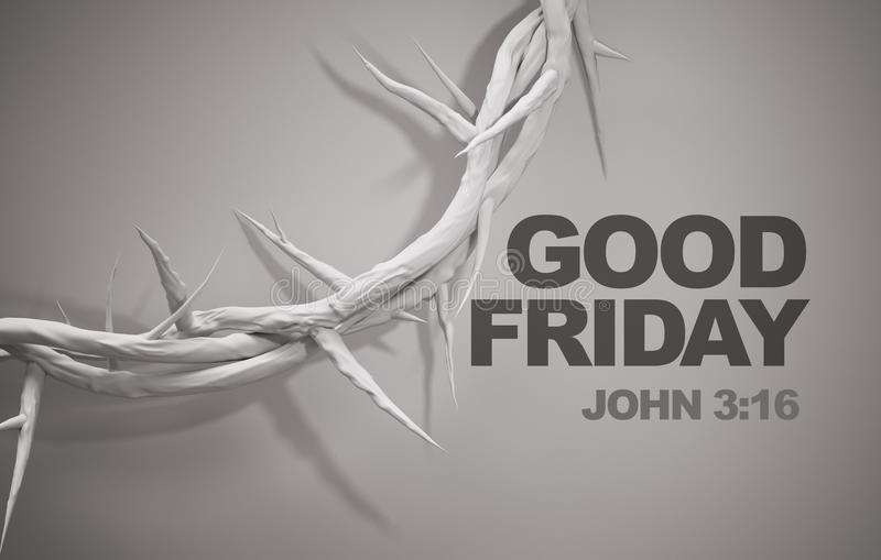 Good Friday John 3:16 Crown of Thorns 3D Rendering royalty free illustration