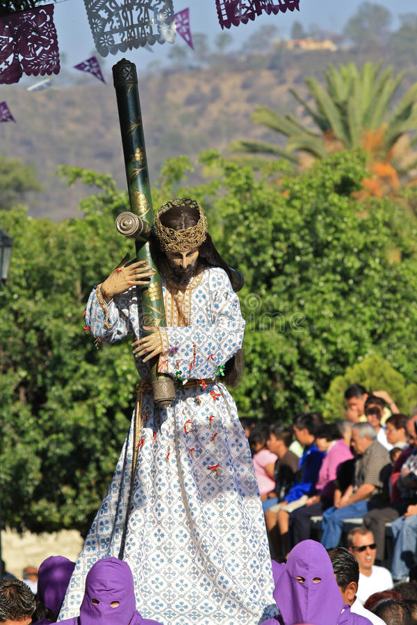 Good Friday in Oaxaca, Mexico. Good Friday procession in a neighborhood of Oaxaca, Mexico. During Semana Santa (Easter week), all people of a community come stock images