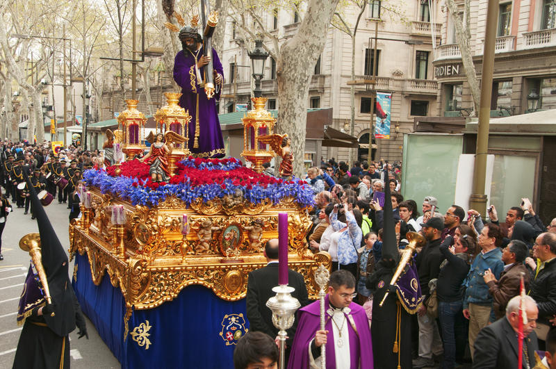 Good Friday Procession in Barcelona, Spain. BARCELONA, SPAIN - APRIL 3: The float with the image of Jesus del Gran Poder during the Good Friday Procession on stock photography