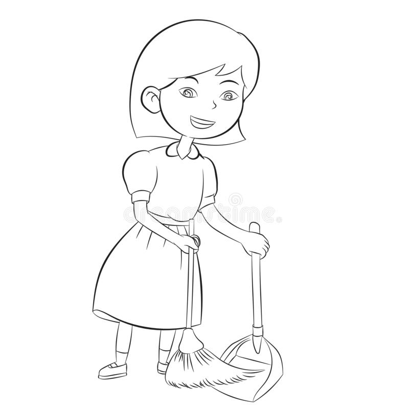 Free Good Girl Sweeping Clean Home Hand Drawn Illustration Stock Photo - 138726410
