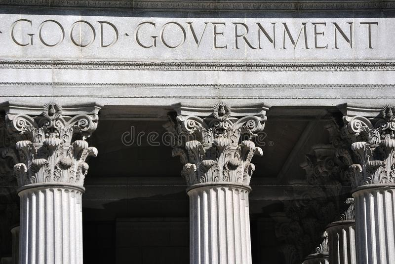 Good Government. Engraving on a United States Court House stock photography