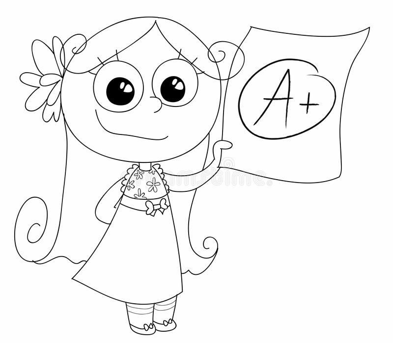 Good grade A+ vector. A cute girl showing her good grade A. Coloring vector Illustration royalty free illustration