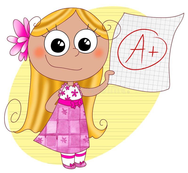 Good grade A. A happy cute girl showing her good grade A. Digital illustration stock illustration
