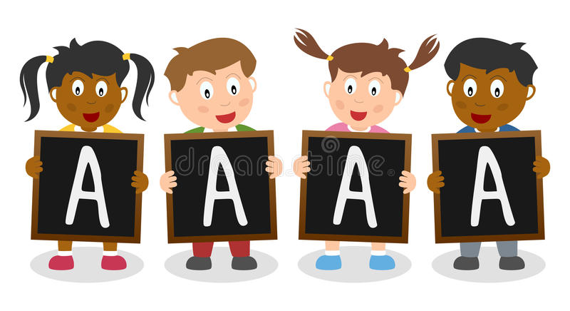 Good Grade Blackboard Kids. Four cute multicultural kids holding blackboard with a good grade. Useful for educational and learning purposes. Eps file available royalty free illustration
