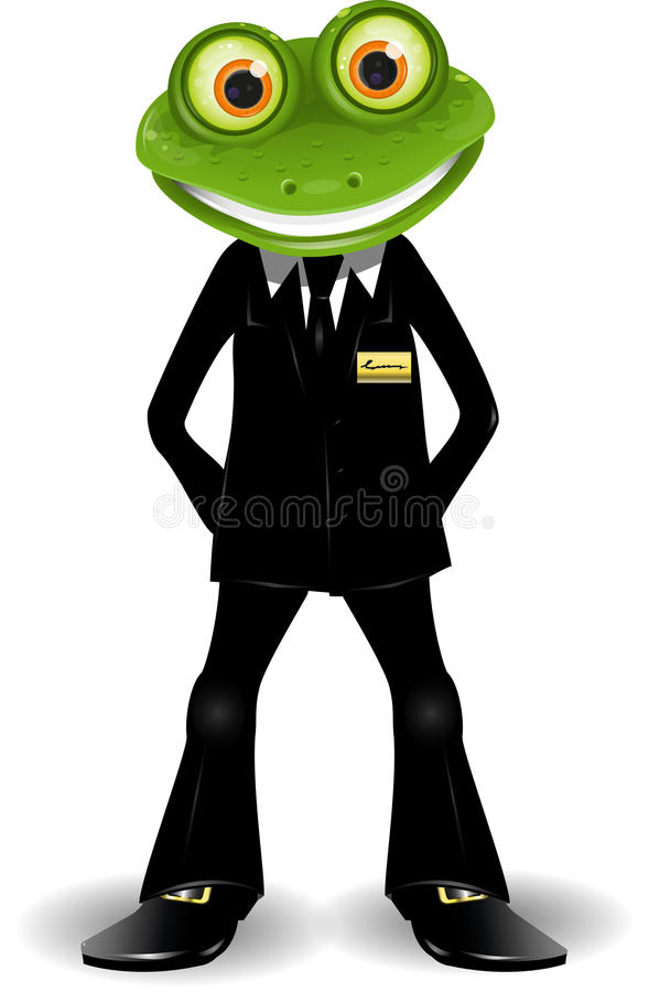 Good guard. Frog security guard in a black suit stock illustration