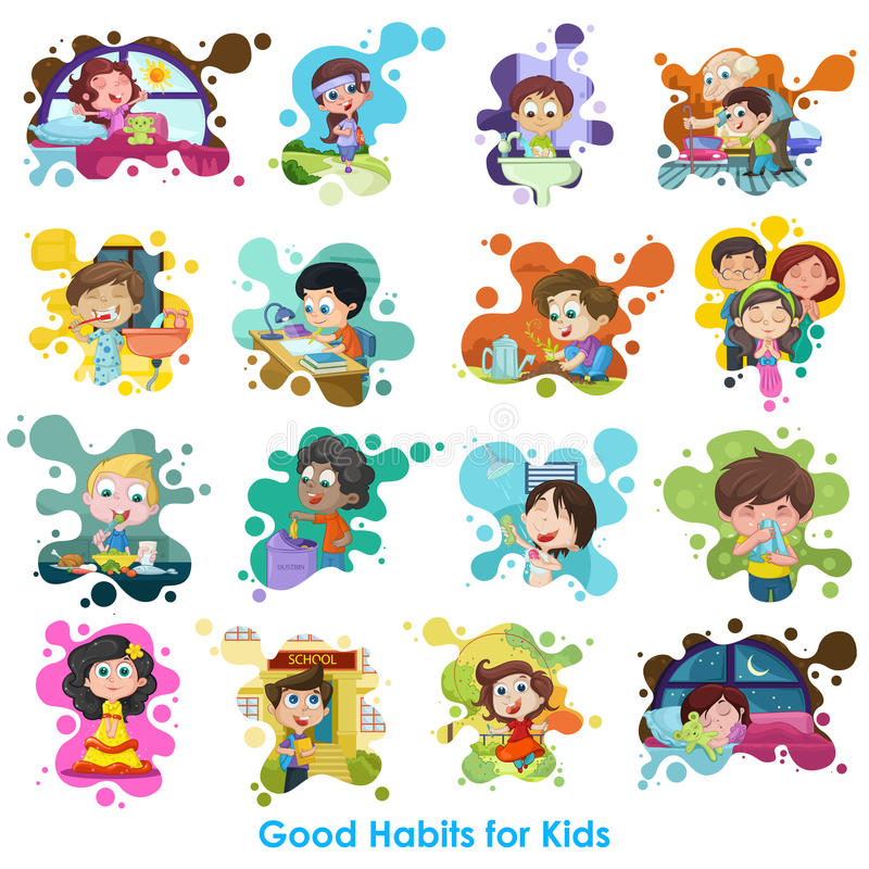 Good Habits Chart. Easy to edit vector illustration of good habits chart