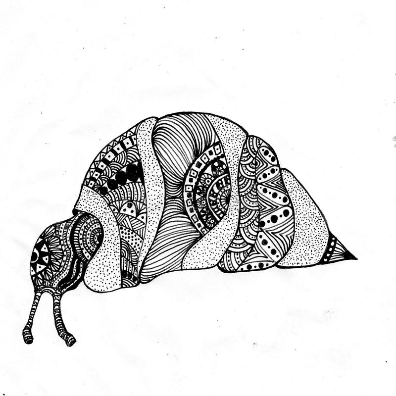 Good handrawing picture of snail. Zentangle snail is on the picture. Nice picture in jpg format vector illustration